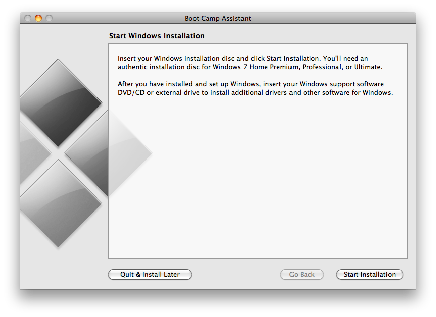install windows 7 on mac without cd